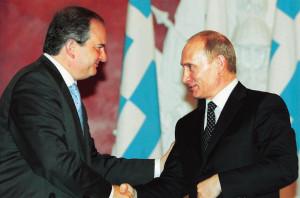 Greece's Prime Minister Costas Karamanlis meets Russia's President Vladimir Putin in Moscow