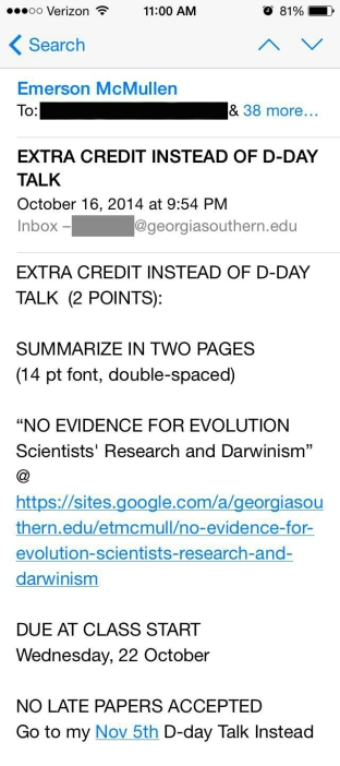 10-16-2014 email to students to summarize %27No Evidence for Evolution%27 REDACTED